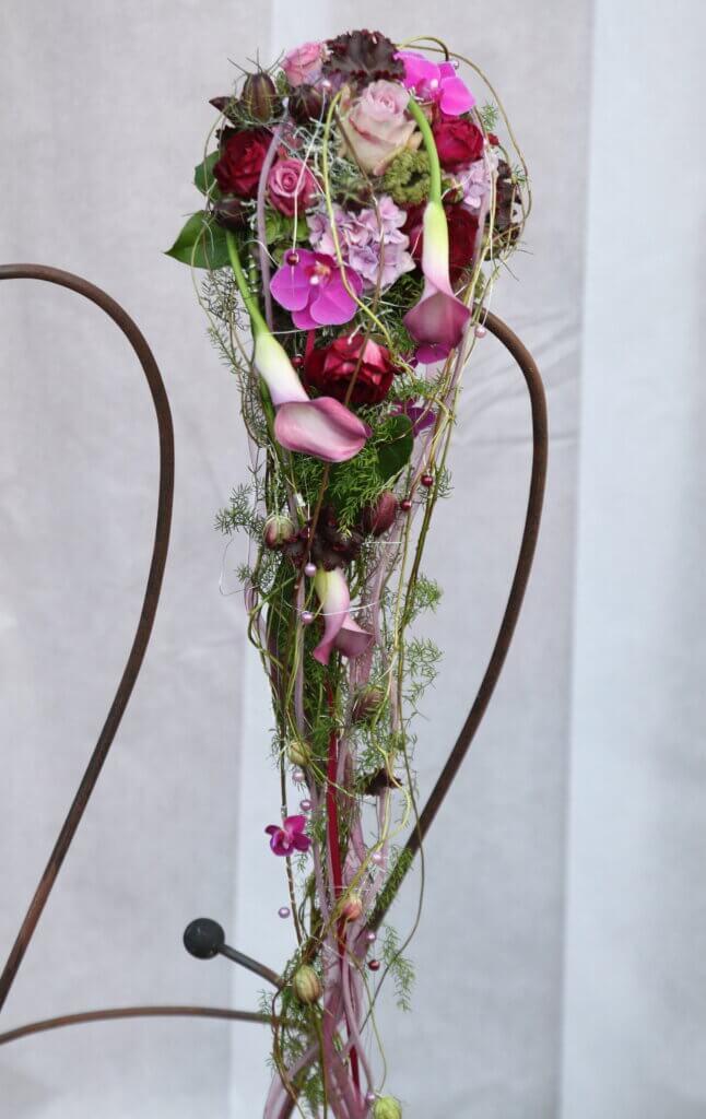 Hochzeitsschmuck Brautstauß EvaTropfen rosa lila
