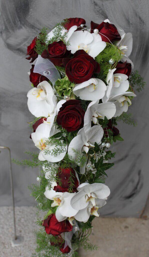 Hochzeitsschmuck Brautstrauß Topfen Orchideen und Rosen